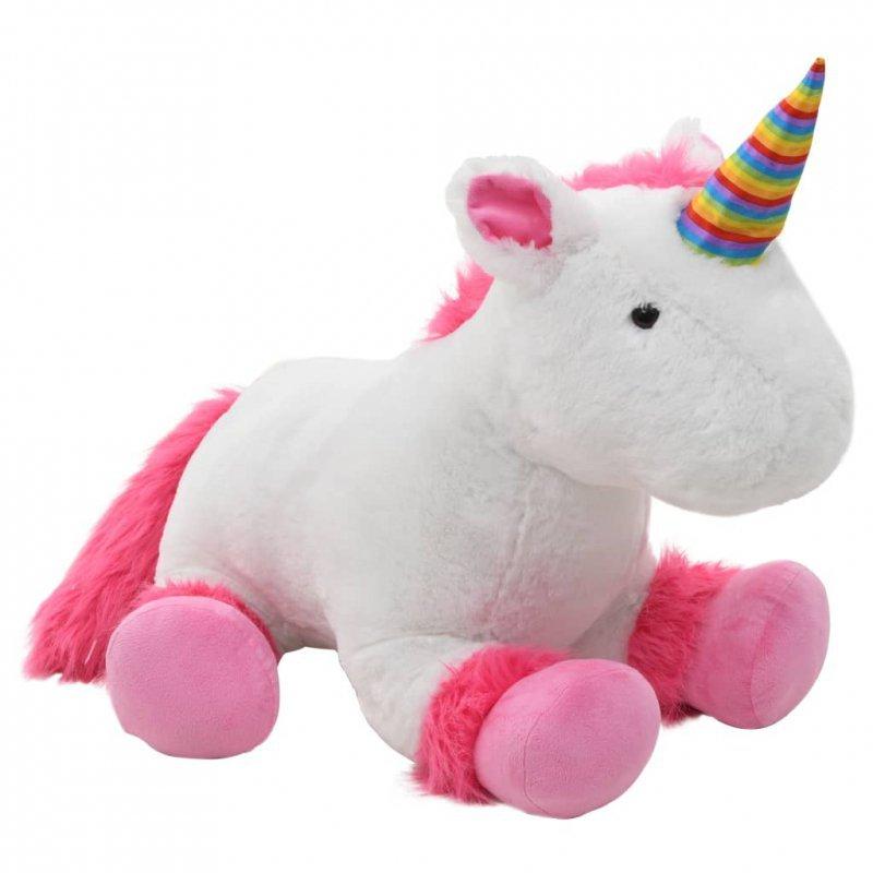 Pluszowy jednorożec przytulanka, różowo-biały