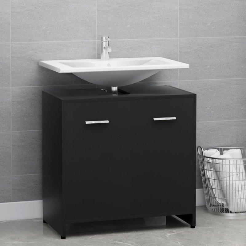 Szafka łazienkowa, czarna, 60x33x58 cm, płyta wiórowa
