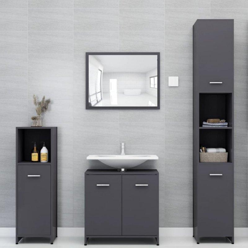 Szafka łazienkowa, szara, 30x30x95 cm, płyta wiórowa