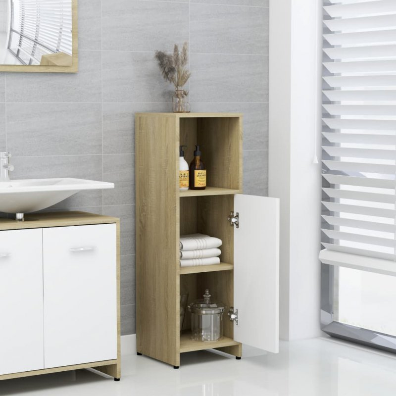 Szafka łazienkowa, biel i dąb sonoma, 30x30x95 cm, płyta