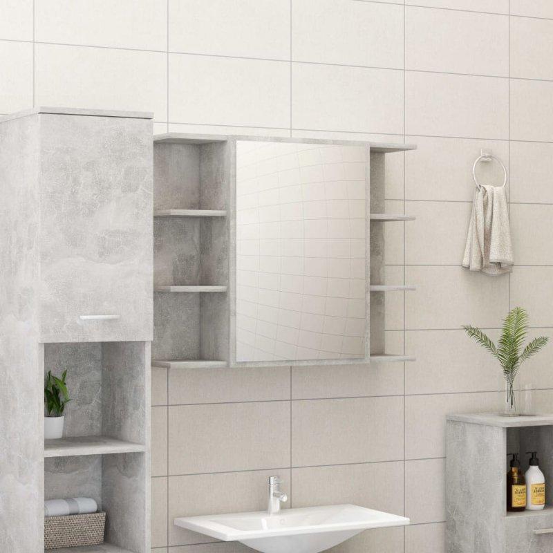 Szafka łazienkowa, szarość betonu, 80 x 20,5 x 64 cm, płyta