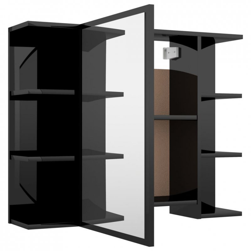 Szafka z lustrem, wysoki połysk, czarna, 80x20,5x64 cm, płyta