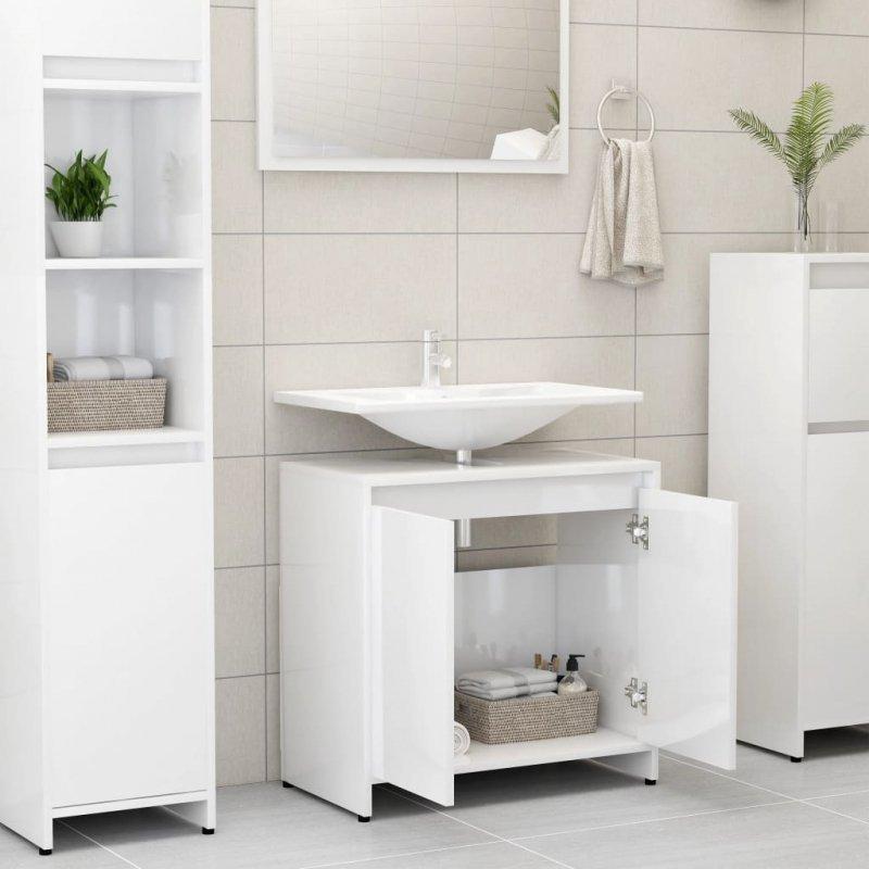 Szafka łazienkowa, biała, połysk, 60x33x58 cm, płyta wiórowa