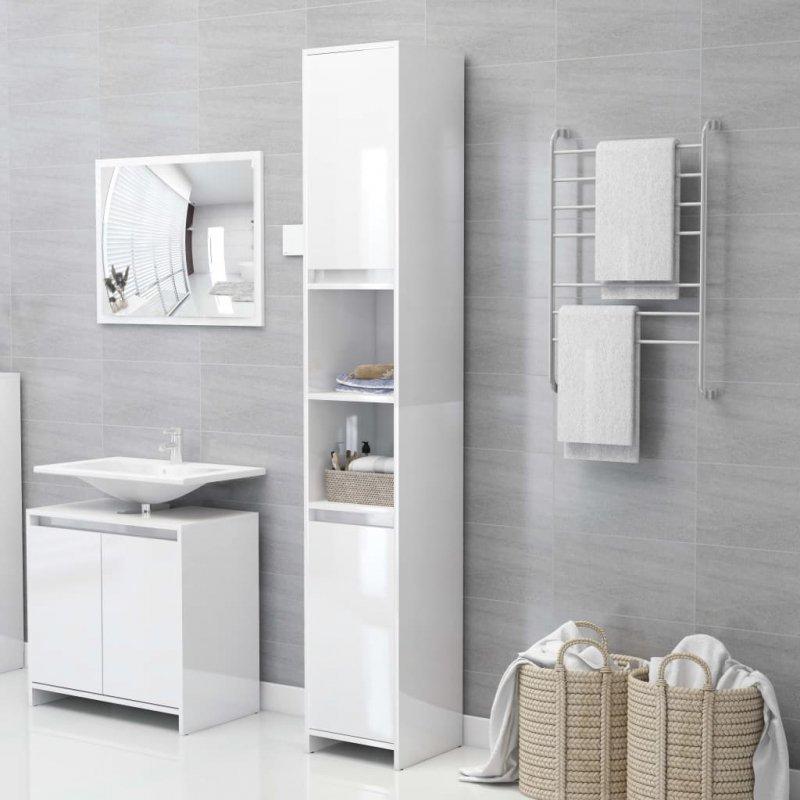 Szafka łazienkowa, biała, połysk, 30x30x183,5 cm, płyta wiórowa