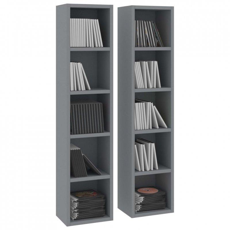 Szafki na płyty CD, 2 szt., szare, 21x16x93,5 cm, płyta wiórowa