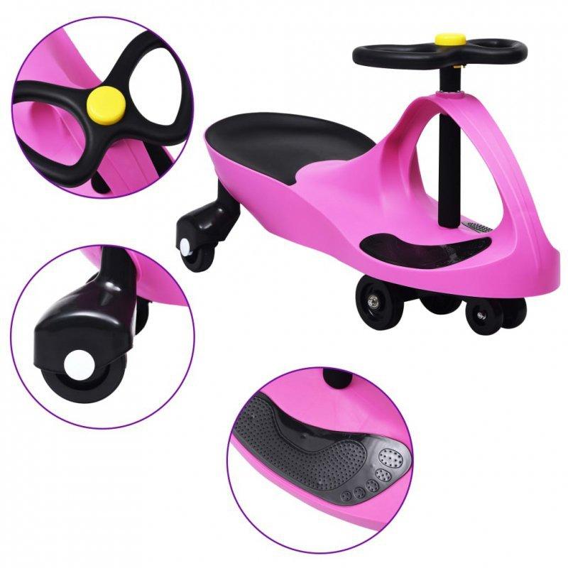 Jeździk balansowy dla dzieci, z klaksonem, różowy