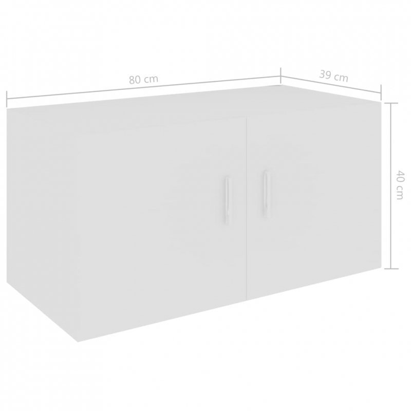Szafka ścienna, biała, 80x39x40 cm, płyta wiórowa