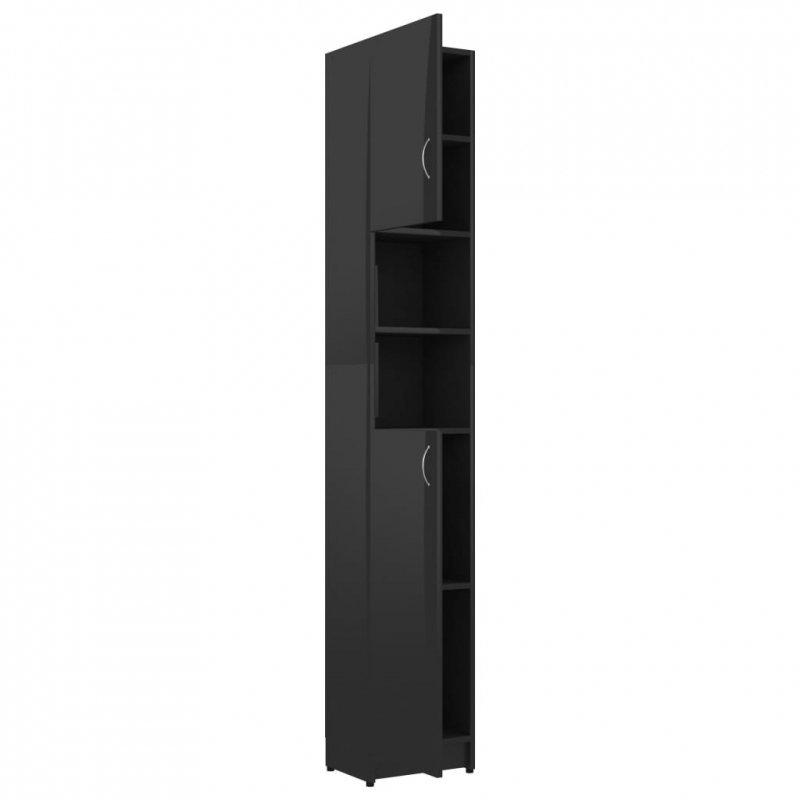 Szafka łazienkowa, czarny z połyskiem, 32x25,5x190 cm, płyta