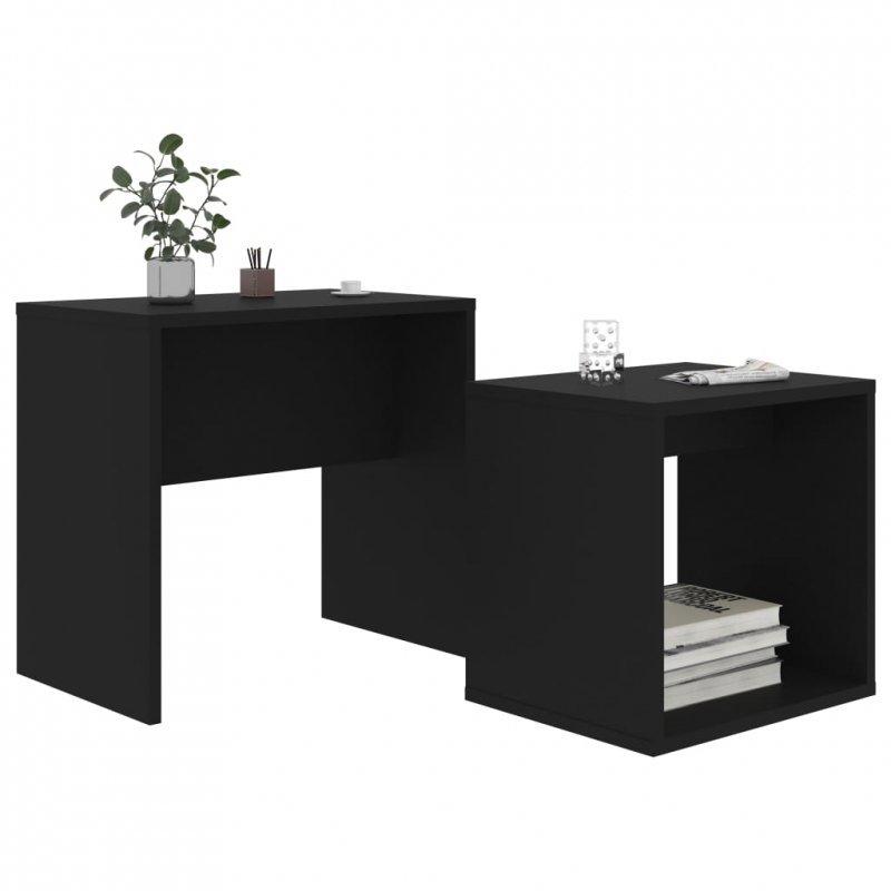 Zestaw stolików kawowych, czarny, 48x30x45 cm, płyta wiórowa