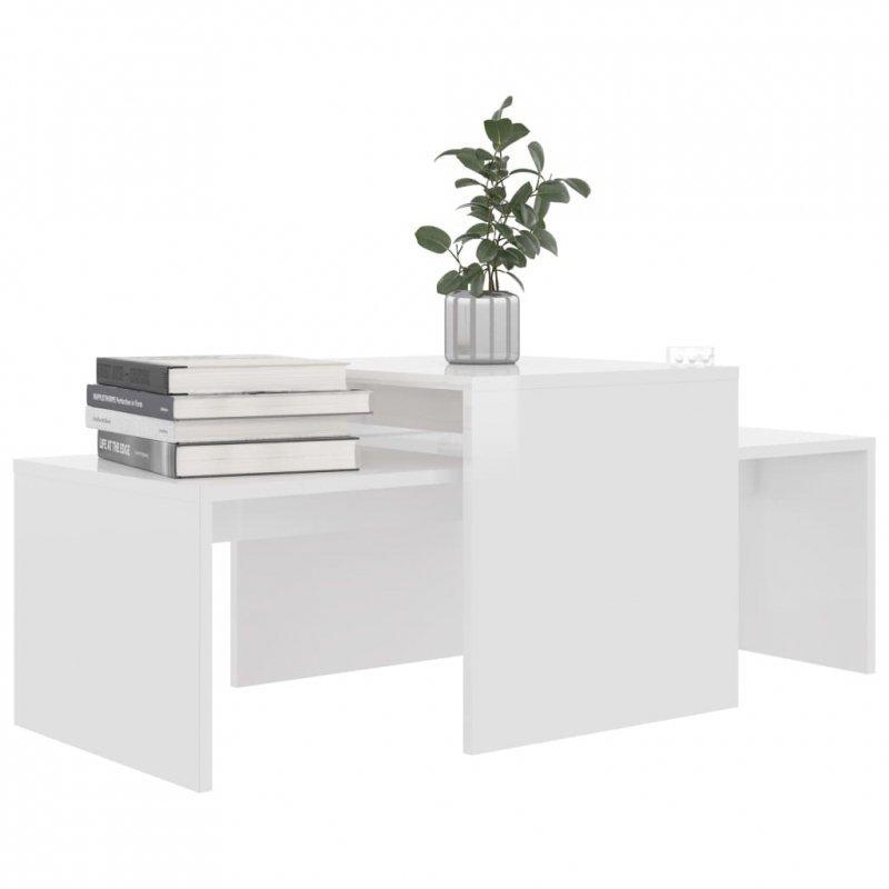 Stolik kawowy, wysoki połysk, biały, 100x48x40cm, płyta wiórowa