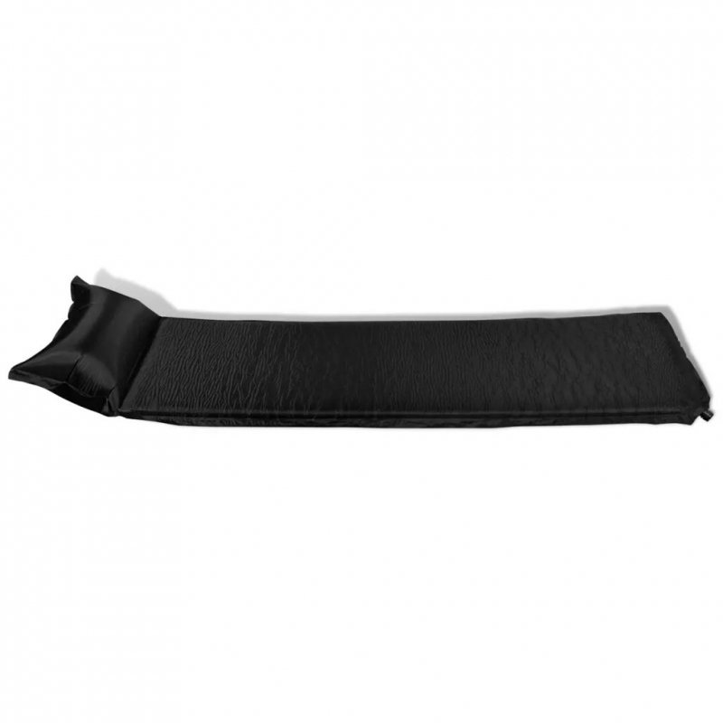Materac samopompujący z poduszką, 6x66x200 cm, czarny