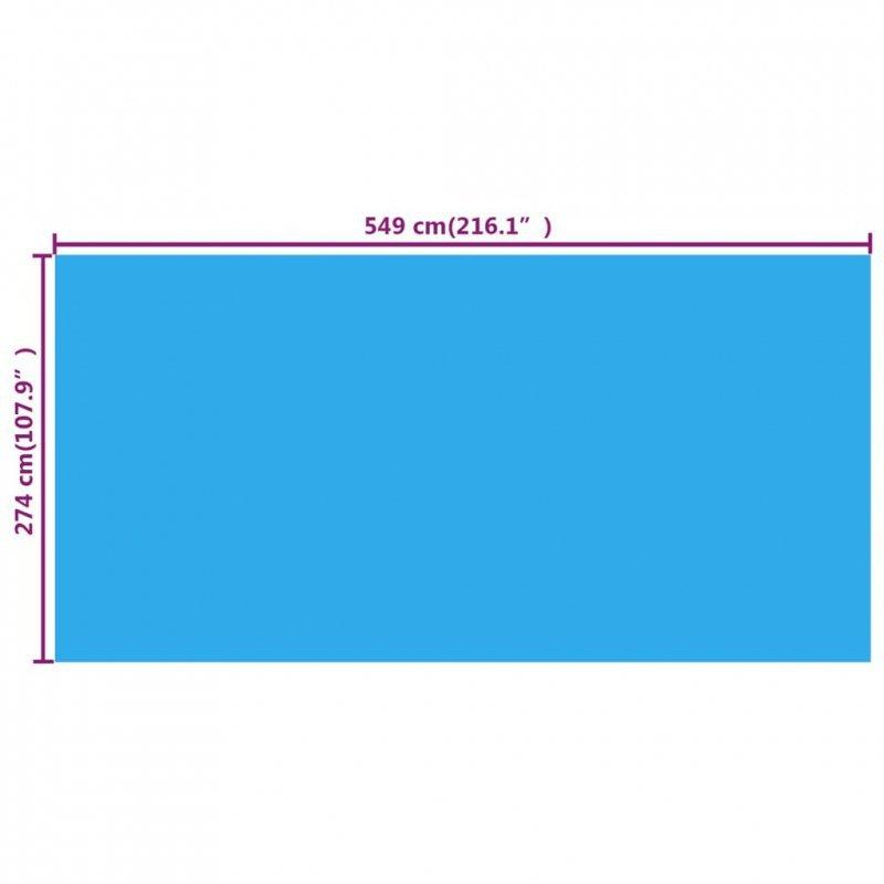 Pokrywa solarna na basen 549x274 cm, PE niebieska