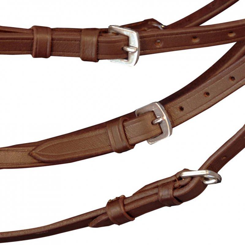 Skórzane ogłowie dla dużego konia z wędzidłem i wodzami, brązowe