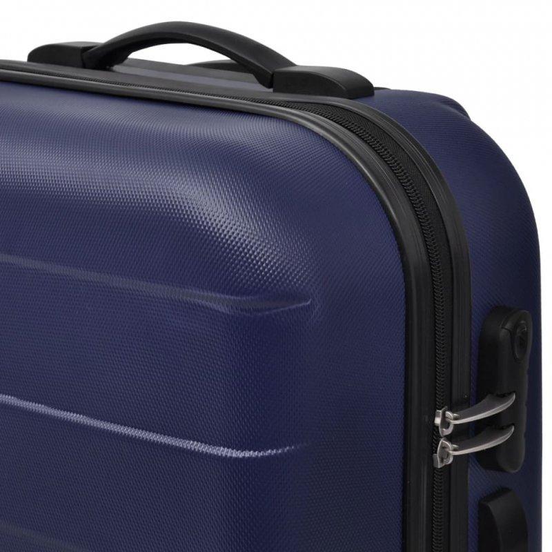3 Walizki podróżne z twardą obudową na kółkach niebieskie