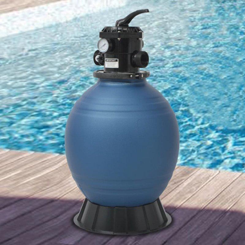 Piaskowy filtr basenowy z zaworem 6 drożnym, niebieski, 460 mm