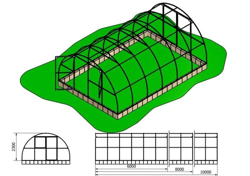 Szklarnia Primus 4x8m 32m2 H=230cm poliwęglan 4mm