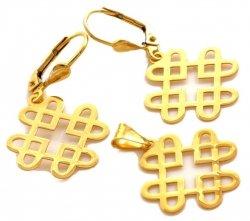 Komplet CZTERY SERCA złoto 585 14cT