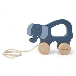 Drewniana zabawka do ciągnięcia Mrs Elephant