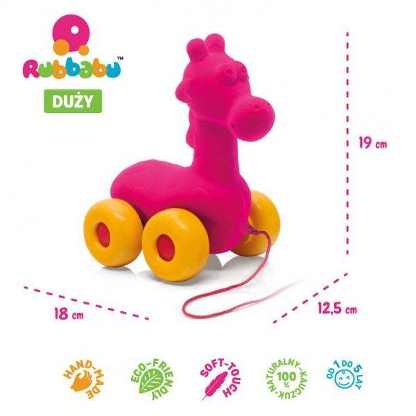 Żyrafa do ciągnięcia sensoryczna różowa