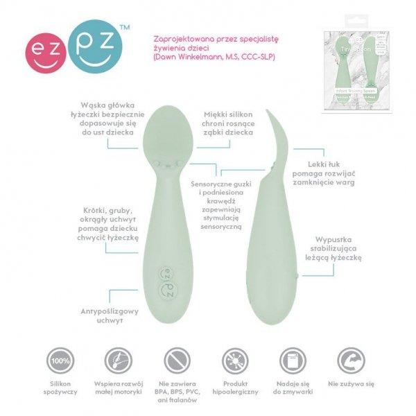 Silikonowa łyżeczka Tiny Spoon 2 szt. pastelowa zieleń