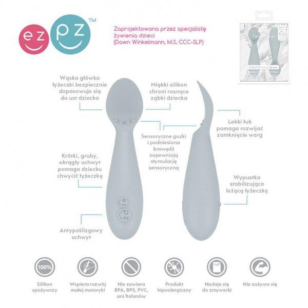 Silikonowa łyżeczka Tiny Spoon 2 szt. pastelowa szarość