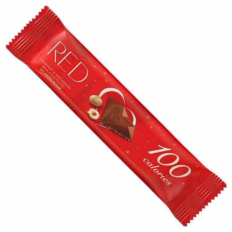Baton z mlecznej czekolady z orzechami laskowymi i orzechami makadamia bez dodatku cukrów, tylko 100 kalorii RED Delight, 26g