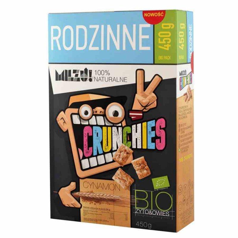 Płatki Crunchies żytnio-owsiane z cynamonem RODZINNE, Milzu! BIO, 450g