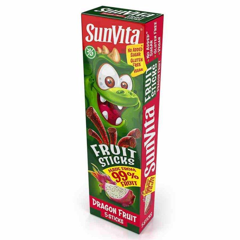 Paluszki owocowe bez dodatku cukru - Pitaja Sunvita, 100g (5x20g)