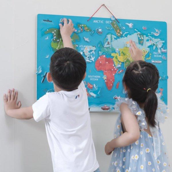 Viga 2w1 Tablica Edukacyjna z Magnetyczną Mapą Świata