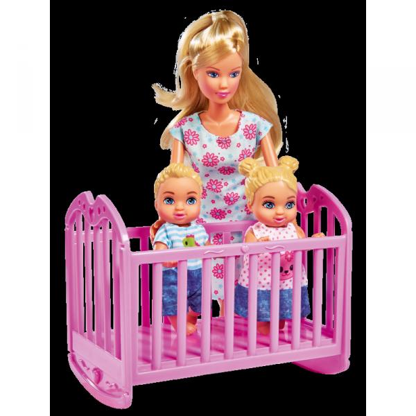Lalka Simba Steffi Love Mama w Pokoju Dziecięcym z 3 dzieci 28 elem.