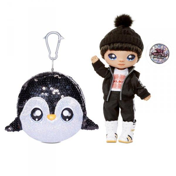 Na! Na! Na! Surprise Sparkle - Lalka Andre Avalanche i Pingwin w balonie z konfetti Seria Cekinowa Pom