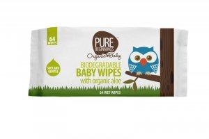 Pure Beginnings Organic Baby, Biodegradowalne chusteczki nawilżane z organicznym aloesem, 64szt.