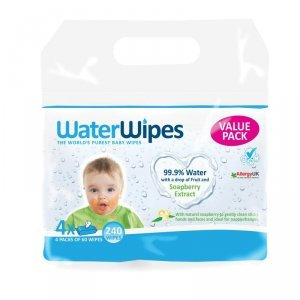 WaterWipes, Chusteczki nasączane czystą wodą, Soapberry (z dodatkiem wyciągu  z orzechów mydlanych), 4x60szt. ENG