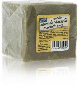 Etamine du Lys, Retro Tradycyjne oryginalne Mydło Marsylskie w kostce zielone, 100 g