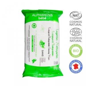 Alphanova Bebe, Ekologiczne chusteczki biodegradowalne z oliwą, 60 szt.