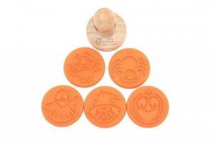 Zestaw 5 drewnianych stempli z certyfikatem FSC w bawełnianej torbie Zwierzęta