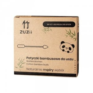 Patyczki kosmetyczne bambusowe z bawełną w kształcie bałwanka/stożka 100szt