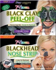 7th heaven - Charcoal Duo Black Clay Peel Off węglowa maseczka do twarzy 6ml + Blackhead Nose Strip oczyszczający pasek na nos 1szt