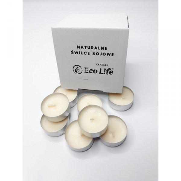 Eco Life, Naturalne, bezzapachowe świeczki sojowe TEA LIGHT, 12 szt.
