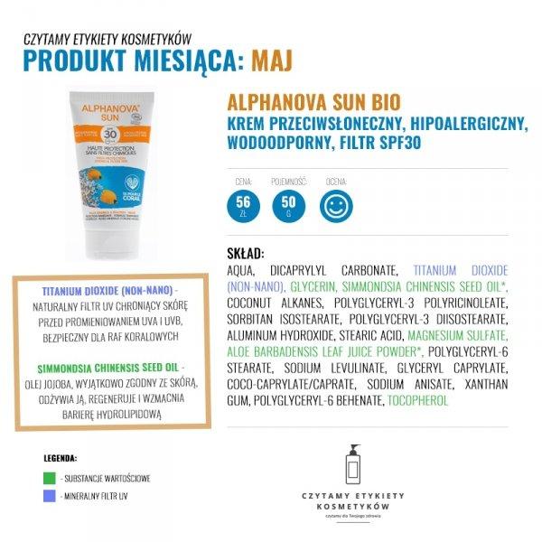 Alphanova Sun, BIO Krem przeciwsłoneczny, hipoalergiczny, wodoodporny, filtr SPF30, 50g