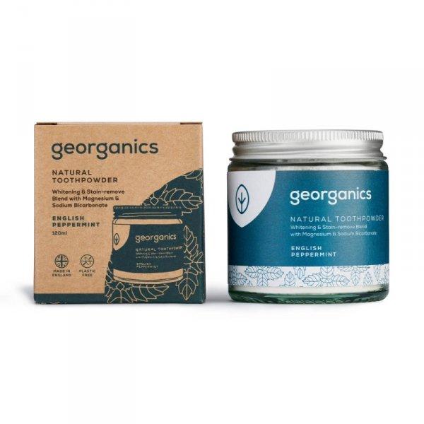 Georganics, Proszek do czyszczenia zębów, English Peppermint, 120 ml