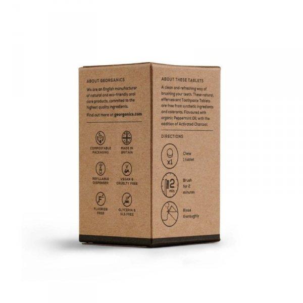 Georganics, Naturalne tabletki do mycia zębów, Activated Charcoal, 120 tabletek
