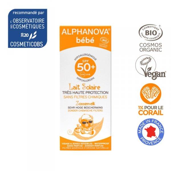 Alphanova Bebe, Przeciwsloneczny Krem o wysokim filtrze SPF 50+, 50g