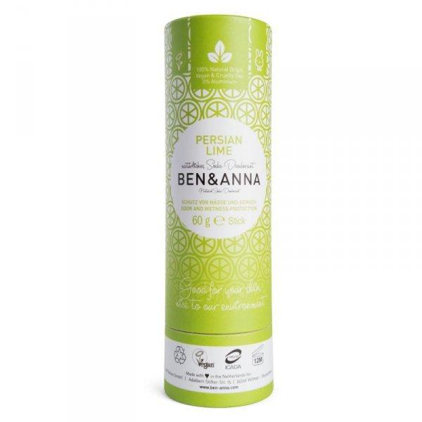 BEN and ANNA, Naturalny dezodorant na bazie sody PERSIAN LIME (w sztyfcie, kartonowy)