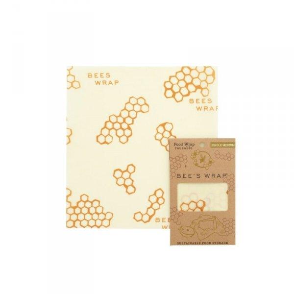 Bee's Wrap, Woskowana organiczna bawełna do zawijania, rozm. M 25 x 27,5cm