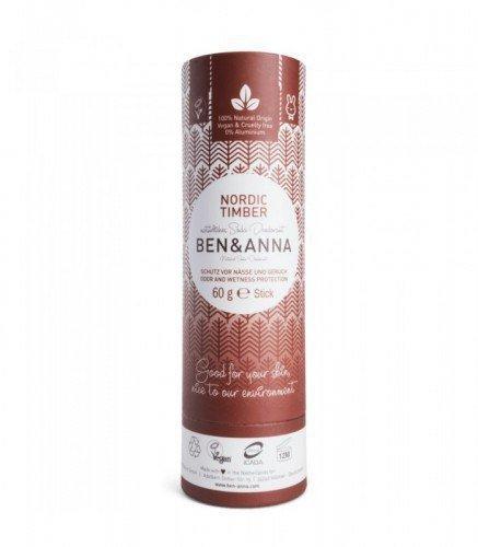 BEN & ANNA Naturalny Dezodorant na bazie Sody NORDIC TIMBER (sztyft kartonowy) 0% Aluminium 60g