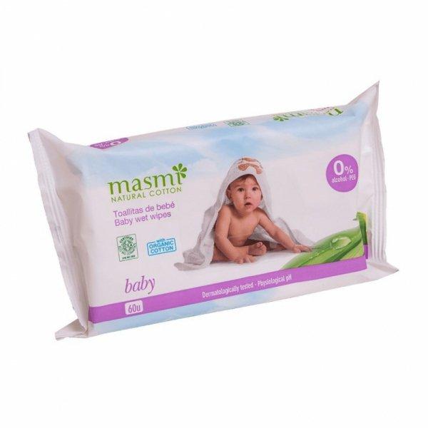 MASMI Wilgotne organiczne bawełniane chusteczki oczyszczające dla dzieci 60 szt