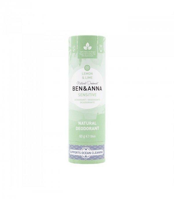 BEN & ANNA Naturalny dezodorant bez sody LEMON & LIME sztyft kartonowy SENSITIVE 60g