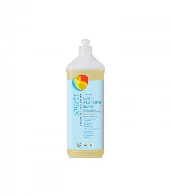 SONETT Płyn do prania wełny i jedwabiu SENSITIV z mydłem z bio oliwki z oliwek DLA ALERGIKÓW, 1 LITR