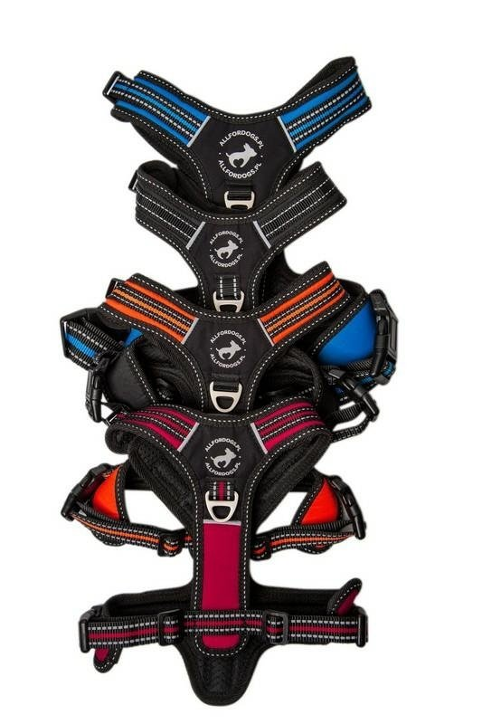 All For Dogs Szelki 3xSport Czarne XS rączka i 3 zapięcia